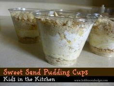 Loved this super easy dessert my daughter made!  Pudding, cool whip and vanilla wafers!  Sweet Sand Pudding Cups!