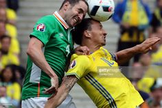 Zlatan Ibrahimovic of Sweden clashes John O'Shea of Republic of Ireland during the UEFA EURO 2016 Group E match between Republic of Ireland and Sweden at Stade de France on June 13, 2016 in Paris, France.