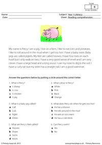 Literacy: Reading comprehension - Percy the Pig Free Worksheets For Kids, School Worksheets, School Resources, Reading Test, Student Reading, Free Reading, First Grade Reading Comprehension, Reading Comprehension Worksheets, English Reading