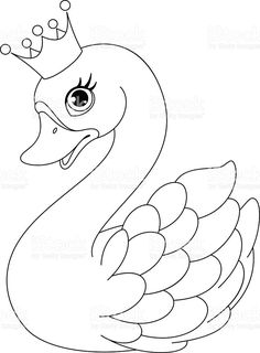coloring pages - Swan Princess kleurplaat — Stockillustratie Princess Coloring Pages, Coloring Pages For Girls, Cartoon Coloring Pages, Animal Coloring Pages, Colouring Pages, Coloring Sheets, Coloring Books, Art Drawings For Kids, Bird Drawings