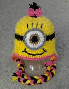 Pink Girl Minion Character Hat Earflap or Beanie (child size) via Etsy