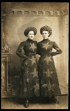 Two women in patriotic garb, identified as Audrey Moreland and Iva Case