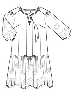 Платье с макси-оборкой - выкройка № 403 B из журнала 1/2017 Burda. Мода для полных – выкройки платьев на Burdastyle.ru