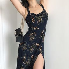 Navy blue wooden ear straps side slit mid-length holiday dress from FE CLOTHING - outfits - Women Fashion Mode, Aesthetic Fashion, Look Fashion, Aesthetic Clothes, Korean Fashion, Fashion Beauty, Womens Fashion, Fashion Brands, Casual Dresses