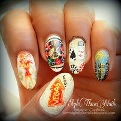 The Las Vegas Nails nail art by Anita Style Those Nails nail art las vegas - Nail Art Bling Nail Art, Glitter Nail Art, Bling Nails, Vegas Nail Art, Las Vegas Nails, Black Nails With Glitter, Special Nails, Nail Art Images, French Nail Art