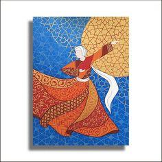 Original Painting Whirling Dervish Sufi Dance Rumi Miniature - AESMPM0046