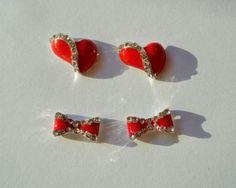 4 pcs of red charms, 2 pcs heart and 2 pcs bow 3d nail art,Heart nails,Bow Nails,3d Nail charm,Red Nail Studs,Nail Bling,Nail Design,Nails