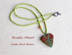 Necklace Beaded Heart Rustic Beadwoven by AletaFordBakerDesign