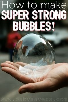 Super strong bubbles: how to make super bubbles with a no-fail recipe! Bouncing, touchable bubbles are so much fun! Projects For Kids, Diy For Kids, Cool Kids, Crafts For Kids, Fun Summer Activities, Toddler Activities, Super Bubbles, Kids Bubbles, Giant Bubbles