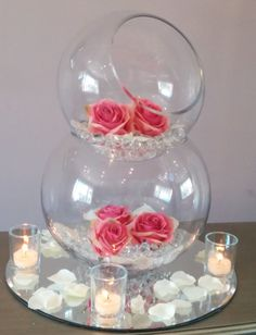 68 Best Ideas For Wedding Diy Centre Pieces Table Decorations Fishbowl Centerpiece, Wedding Table Centerpieces, Floral Centerpieces, Floral Arrangements, Wedding Decorations, Table Decorations, Bowl Centerpieces, Centrepieces, Table Centers
