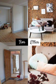Sjekk den forvandlingen - Makeover av gulvene og ny og spenstig tapet ga rommet et helt nytt uttrykk - http://www.rom123.no/f%C3%B8r-og-etter/kul-kork/
