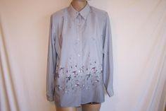 ALFRED DUNNER Shirt Top Blouse Gray Floral Button Front Long Sleeves Sz 10 #AlfredDunner #ButtonDownShirt #Career