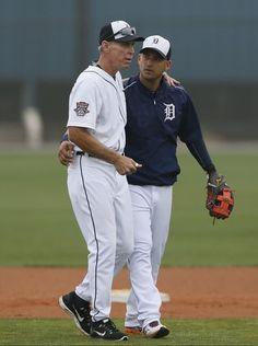 Detroit Tigers' Alan Trammell, left, talks with Jose Iglesias as they walk off the field after going through a fielding drill at spring training on Wednesday, February, 25, 2015 in Lakeland Fla.  Julian H. Gonzalez, Detroit Free   VOTE TRAMMELL INTO THE HALL OF FAME!