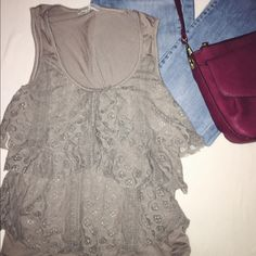 Tope lace Ruffled tank top Very cute addition to any war drop looks great under cardigans or worn alone! Price always negotiable!! Juniors medium but fits like a small in women's. Tops Tank Tops