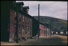 Brick houses across from Steel Mill: Johnstown, PA, 1940 (Charles Cushman)