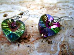 Foil Backed Faceted Rainbow Crystal Glass Heart Long Dangle Drop Earrings