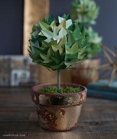 Topiaria de hera de papel para decoração ~ VillarteDesign Artesanato
