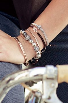 Stella & Dot Arm Party featuring our Rose Gold Sidewinder (snake) Bracelet