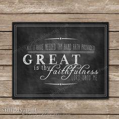 Great Is Thy Faithfulness Chalkboard Wall Sign | Chalkboard Scripture Print…