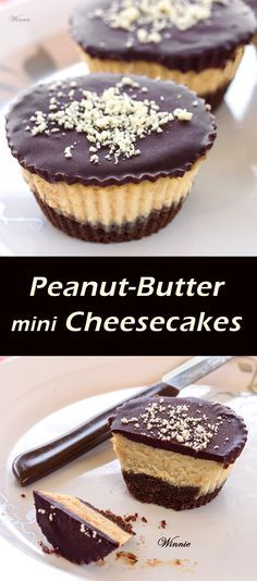 Peanut-Butter mini Cheesecakes, topped with Chocolate.   http://www.winnish.net/2013/05/2367/