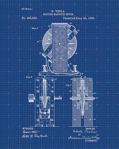 Patent Print Tesla Magnetic Motor Tesla Wall Art by VisualDesign Nikola Tesla Patents, Tesla Power, Nicolas Tesla, Blueprint Art, Magnetic Motor, Patent Drawing, Energy Projects, Patent Prints, Technical Drawing