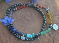 Petit double Chakra Balancing OM Bracelet. Reiki by CrystalMeB
