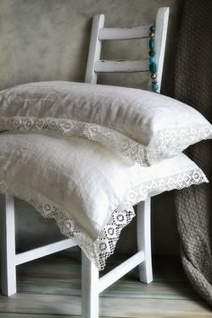 "Natural softened linen pillow case ""Provincial Living"" with white linen lace. Natural linen bedding"