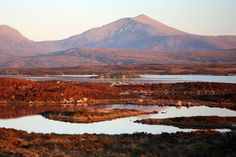 Scottish islands - Peat moors and mountains at dusk, South Uist