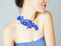 Hey, I found this really awesome Etsy listing at https://www.etsy.com/listing/197535309/necklace-lasara-navy-blue-necklace-lace