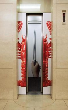 Clever Elevator Ad for Kagatani Knife Advertisement Examples, Crab Shack, Magnetic Knife Strip, Elevator, Knife Block, Clever