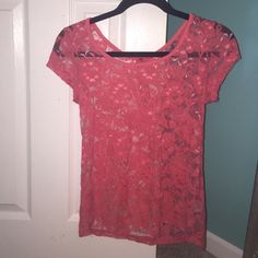 pink lace Charlotte Russe top sheer pink lace top with zipper on back Charlotte Russe Tops Tees - Short Sleeve