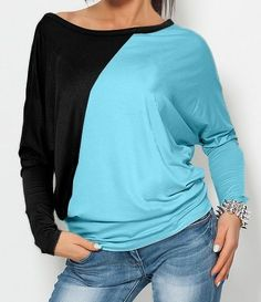 Batwing Assorted Color Shirt Long sleeve T-shirts from fashionmia.com