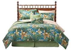 Capture the feeling of paradise all year long with tropical bedding by Caribbean Joe. This colorful 4-pc. queen bedding set includes an island-inspired floral print comforter measuring 90'' x 90'', bed skirt measuring 60'' x 80'' 15''