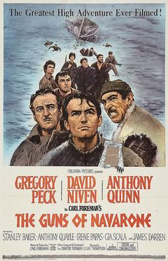 "Gregory Peck, David Niven, and Anthony Quinn in ""The Guns of Navarone""."