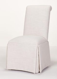 Scroll Back Parson Chair With Kick Pleat Skirt (Quick Ship)