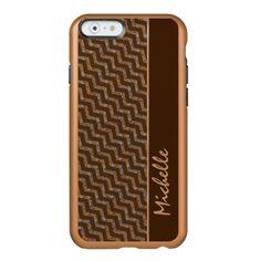 Diagonal Brown Chevron Personalized incipio iPhone 6 case by Mega Case