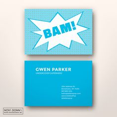 Superhero business and calling card templates. Bam!