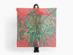 """""""Ash-tree, floral art, red & green, summer greenery"""" Scarves by clipsocallipso   Redbubble"""