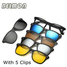 2fe0ae69c52 Fashion Spectacle Frame Men Women With 5 Pieces Clip On Sunglasses  Polarized Magnetic Glasses Male Driving Myopia Optical RS120-in Eyewear  Frames from Men s ...