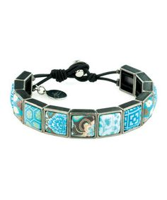 Another great find on #zulily! Teal Peacock Square Stretch Bracelet by JILZARA #zulilyfinds
