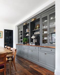 English Cottage — jean stoffer design - Coffee bar with gray blue cabinets, in dining room, antique brass lighting, glass cabinet doors, wo - Blue Cabinets, Built In Cabinets, Built In Hutch, Built In Buffet, Built In Bar Cabinet, Tall Cabinets, Modern Farmhouse Kitchens, Home Kitchens, Cottage Kitchens