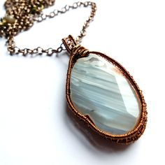 blue striped agate statement necklace, natural agate with druzy, wire wrapped pendant, raw copper, unique ooak by MissLadysmith on Etsy