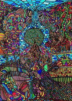 Kunstdruck von Martin Bamballi Psy Deko Hippie Goa Art A3 Print Kunst N4 Bild