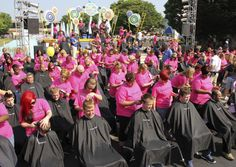 Most head shaves at once: Hair stylists from 26 Great Clips Ohio salons shaved the heads of 213 people at Kings Island amusement park in Mason, Ohio, to set a new Guinness world record and to raise awareness and money to fight cancer. http://www.pinterest.com/Hotonbeauty/world-records-of-beauty/