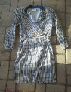 Super Cute Little Californian Suit: late 1980s blue white check by suzi00 on Etsy