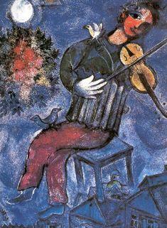 Schilderij: Marc Chagall 'The Fiddler' -  speelman je vioolkist is je ransel op de grote lange weg  je laatste tonen laat je smeulend achter je speelt voor hoge flatgebouwen waar je niet naar binnen mag als deuren dicht slaan speel je maar wat zachter als je speelt tegen de zeewind op nachtelijke stranden sluit je ogen en vertrouw maar op je handen Ramses shaffy