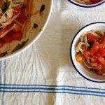 G-free Friday with Martha Stewart- Fresh tomato brown rice fettucini via AmyChaplin.com