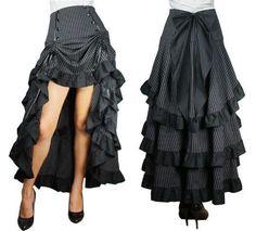 Raffbarer Pinstripe Rock Gr. 46 - 56 Gothic Steampunk victorian Burlesque in Kleidung & Accessoires, Damenmode, Röcke   eBay