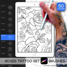 50 Procreate Brushes - Roses Tattoo Set - Roses and Leafs Stamps Graphic Tattoo Tool, Commercial Use Rose Tattoos, Sexy Tattoos, Chicano Tattoos, Ipad, Original Tattoos, Tattoo Project, Best Sleeve Tattoos, Sexy Drawings, Line Work Tattoo