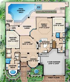 Florida Style House Plans - 3609 Square Foot Home, 2 Story, 4 Bedroom and 2 3 Bath, 2 Garage Stalls by Monster House Plans - Plan 55-122
